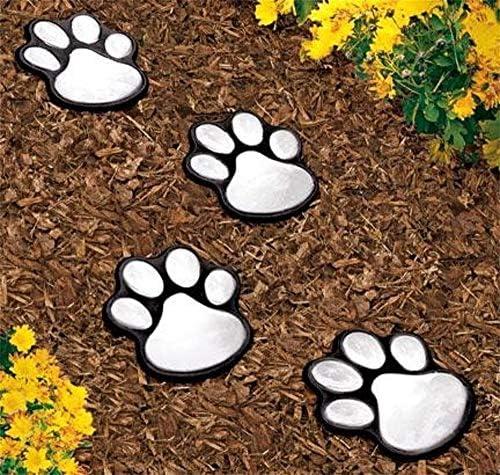 HuiKaiHot 4 Solar Dog Cat Animal Paw Print Lights Garden Outdoor LED Path Lamp Auto On