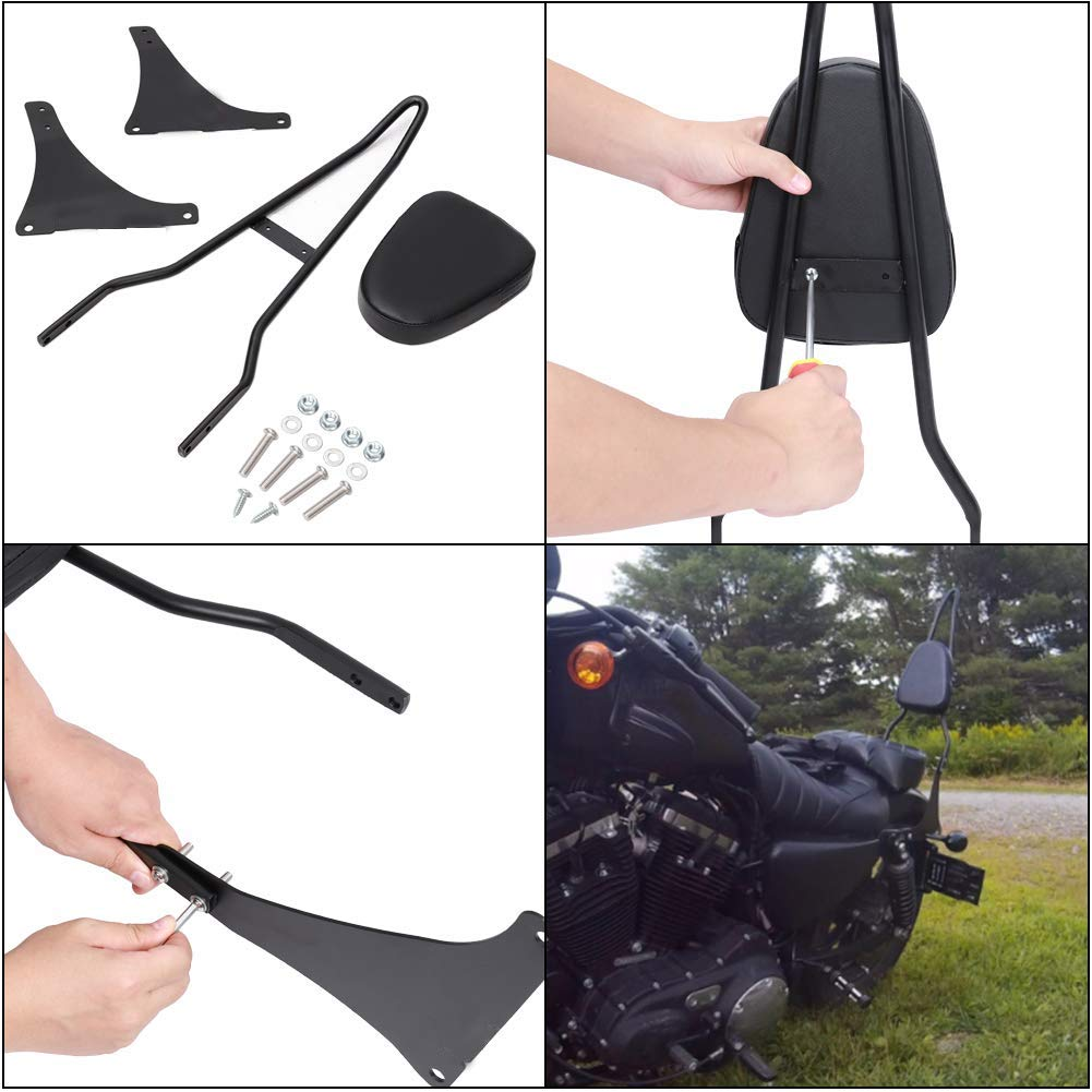 Newest!!! Motorcycle Sissy Bar Backrest Leather Pad For Honda CA250 Rebel 250 CMX250 Heavt-Duty