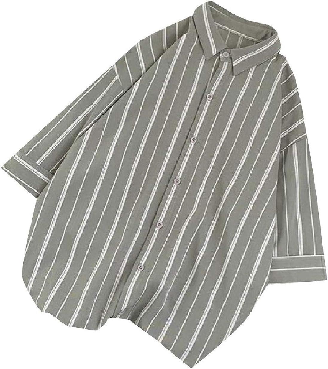 RDHOPE-Men Big and Tall Poplin Light Weight Loose Regular-Fit Work Shirt