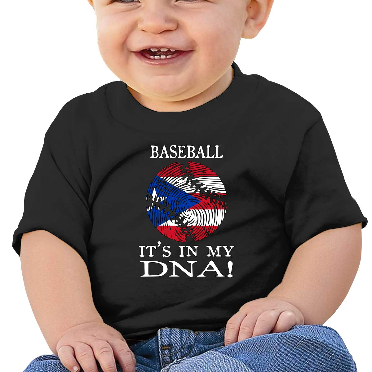 Puerto Rico Flag Baseball DNA Newborn Baby Newborn Short Sleeve Tee Shirt 6-24 Month Soft Tops