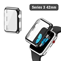 Apple Watch Series 3 Case 42mm, 2win2buy Full Cover Apple Watch Cover Slim Hard PC Plated Protective Bumper Shell with 0.2mm Shockproof Sheld Guard Screen Protector for iWatch 2017/2016 (Black)