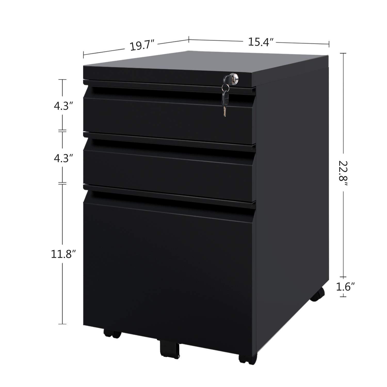 DEVAISE - Archivador con 3 cajones y ruedas en color blanco y negro: Amazon.es: Oficina y papelería