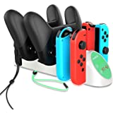 Charging Dock for Joy Con Nintendo Switch Pro Controller 6 in 1 Charging Station with LED Indicator Supports N-Switch Dock