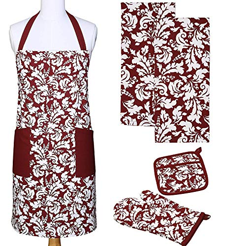Yourtablecloth Kitchen Gift Set-1 Kitchen Apron, an Oven Mitt & A Pot Holder-2 Kitchen Dish Towels or Tea Towels-Ideal Cooking Gifts or Gift Ideas for Chefs-Suitable for Men & ()