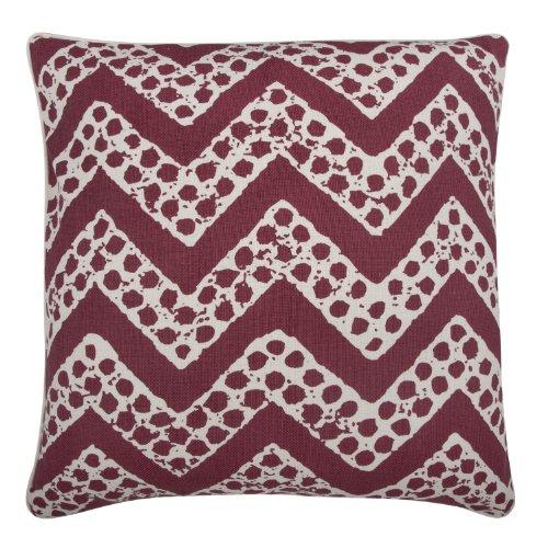thomaspaul Linen/Cotton Chevron Pillow, 22 by 22-Inch, Ruby