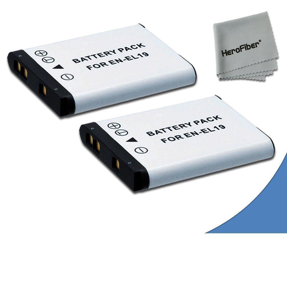 2 High Capacity Replacement Nikon EN-EL19 Batteries for Nikon Coolpix S32 Digital Camera