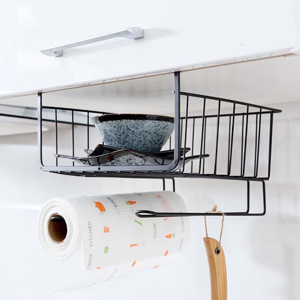 Home-organizer Tech Under Cabinets Shelf Basket Rack Shelf Storage Organization Basket (Black)