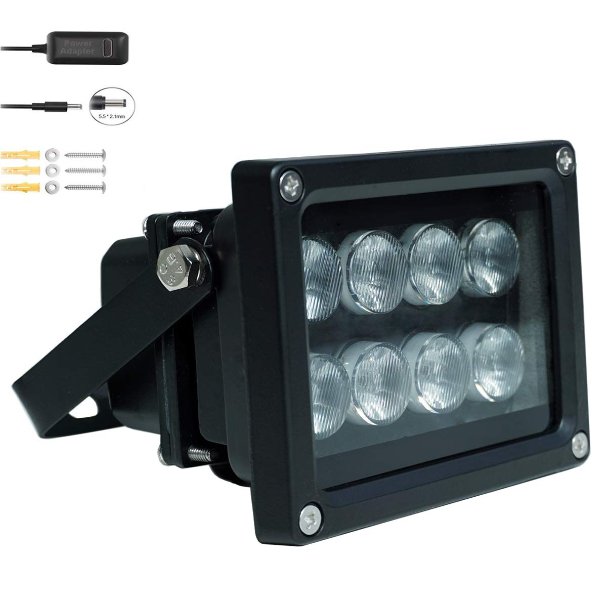 JC IR Illuminator 8-Led Infrared Light Wide Angle 90°with Power Adapter for Security Cameras by JCHENG SECURITY
