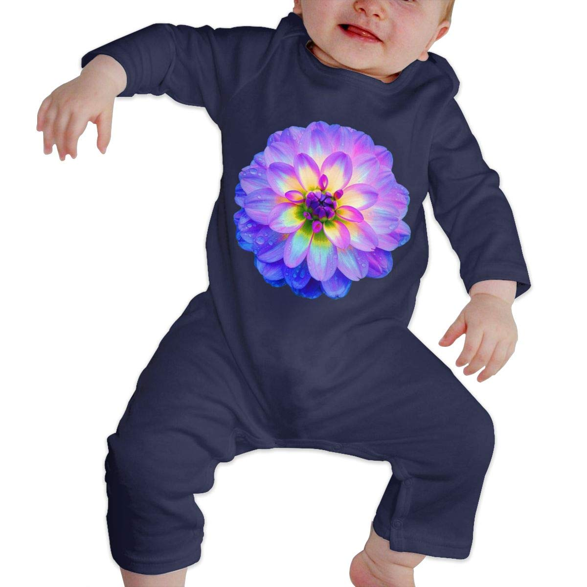Babys Long Sleeve Romper,Flower Purple Jumpsuit Bodysuit Clothes