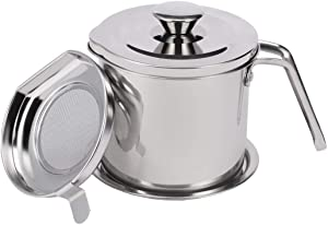 Hoxierence 1.4 Quart Bacon Grease Container with Strainer, Stainless Steel Oil Storage Pot with Cover, Mesh Screen and Base, Kitchen Grease Keeper & Can for Frying Oil (1.3L, Silver)