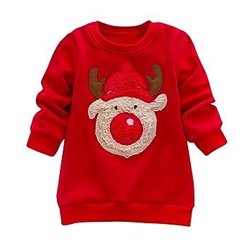 SMILEQ bebé Sudaderas de Navidad bebé Manga Larga Feliz Navidad Cute Elk impresión Tops Fashion Sudadera Kid Regalo, Rojo: Amazon.es: Deportes y aire libre
