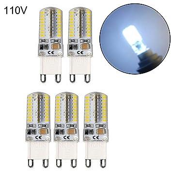 Remaxm Bombillas LED, Bombilla Inteligente, 5 Unidades, G9 5W LED 3014 64SMD Base de Pines, luz Blanca cálida/fría, Blanco, 110V: Amazon.es: Hogar