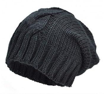 abbbec0e9234b PURECITY© Produit Original - Bonnet Long Oversize Torsade Coloris Noir -  Tendance Hiver Mixte -