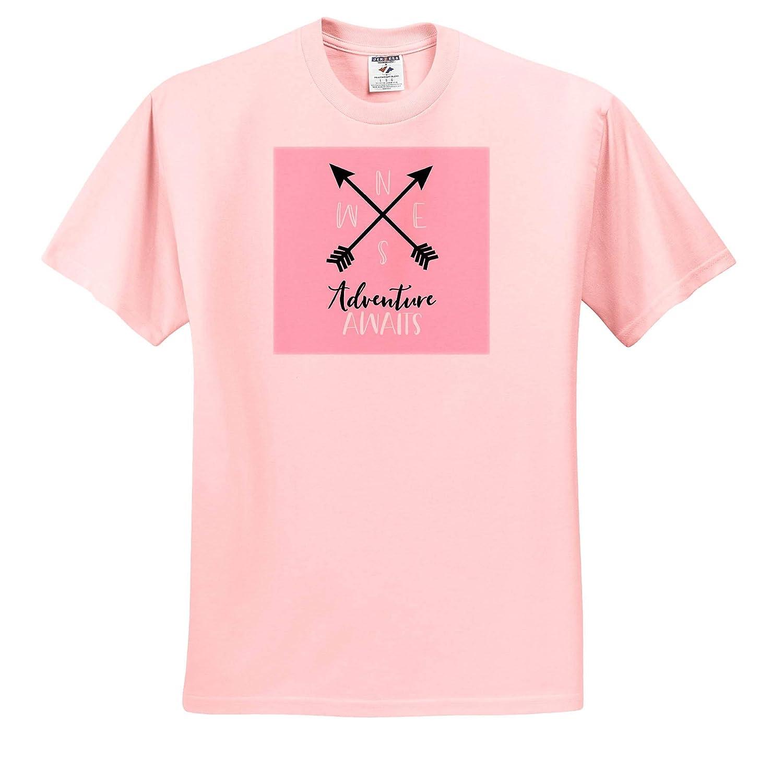 3dRose Janna Salak Designs Boho Adult T-Shirt XL ts/_319882 Adventure Awaits Pink