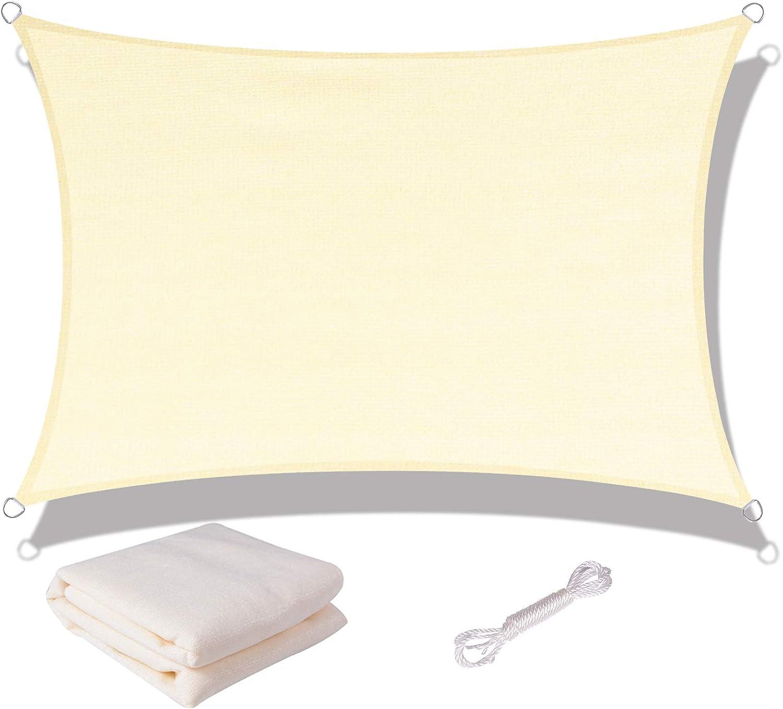 SUNNY GUARD Toldo Vela de Sombra Rectangular 3x4m HDPE Transpirable protección UV para Patio, Exteriores, Jardín, Color Crema