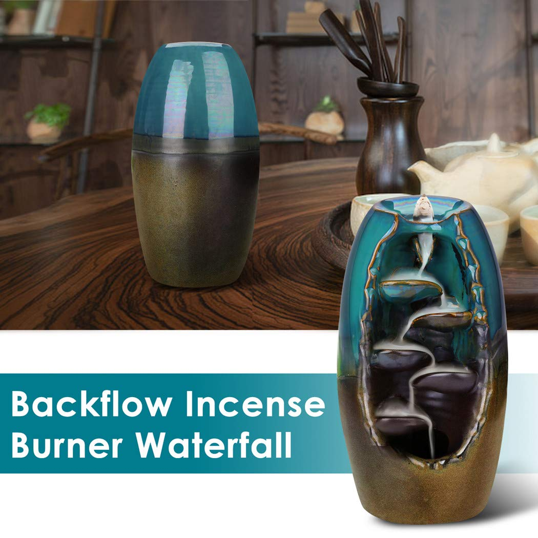 Outivity Ceramic Backflow Incense Holder Waterfall Incense Burner Aromatherapy Ornament Home Decor with 12 Backflow Incense Cone Free (Blue) by Outivity (Image #2)