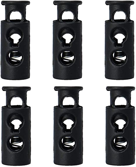 Tie-Downs uxcell 100pcs Plastic Spring Cord Locks Stopper Double Hole Toggle Fastener Rope End for Drawstring Clothes Black Shoelaces Bags