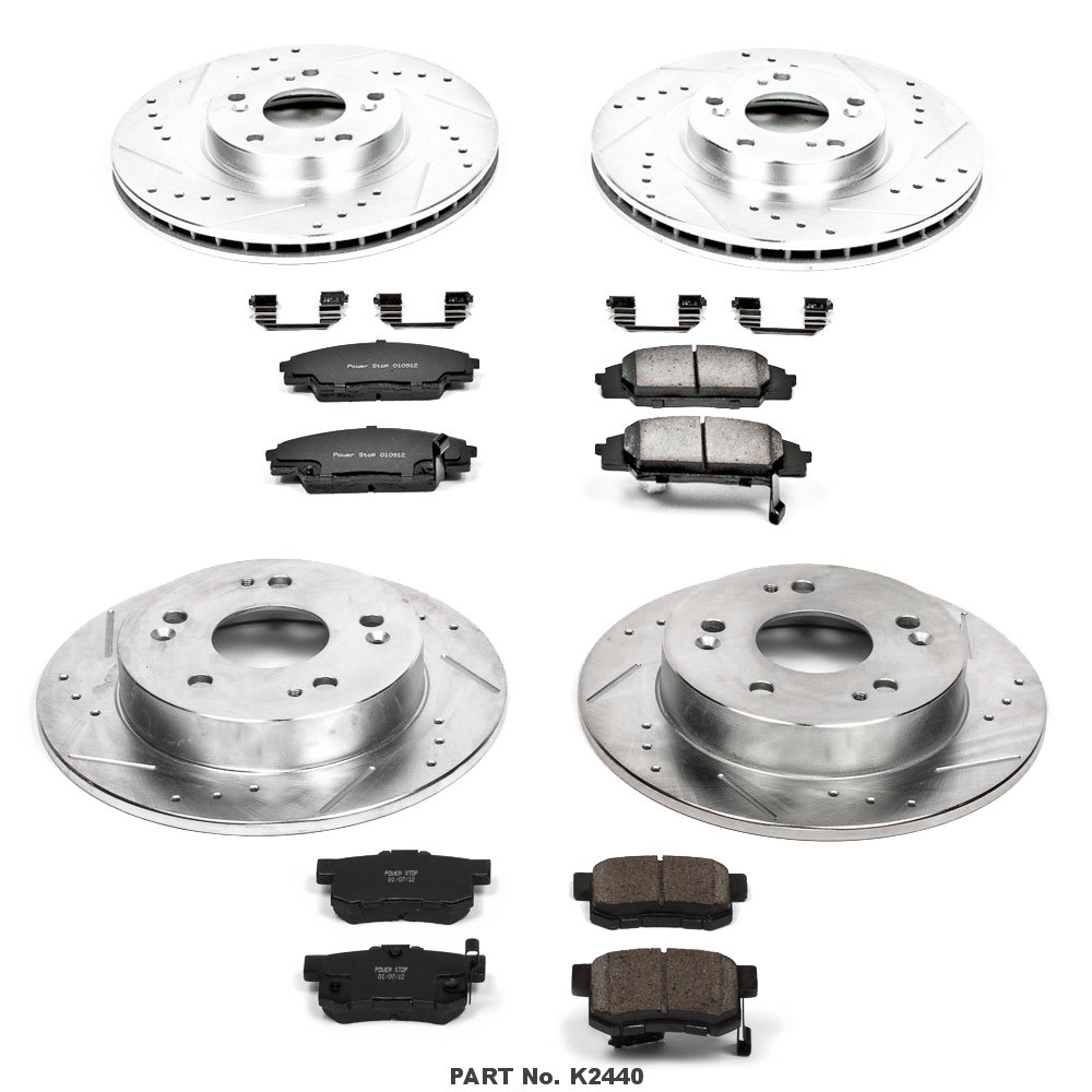 Power Stop K2440 Front and Rear Z23 Evolution Brake Kit with Drilled//Slotted Rotors and Ceramic Brake Pads