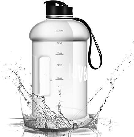 VENNERLI Water Bottle with Handle Portable Large Plastic Water Bottles for Adults BPA-free Half Gallon Water Bottle Reusable 2 Liter Water Jugs for Outdoor Hiking Fitness Travel Camping Cycling