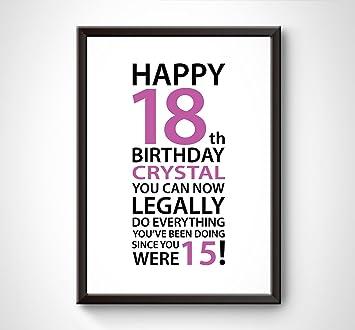 Amazonde Personalisierte Happy 18 Geburtstag Legal Kurz