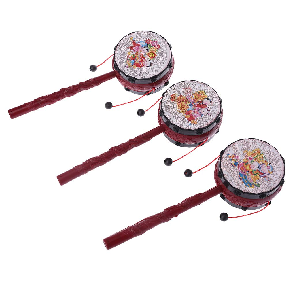Lamdoo Plastic Cartoon Chinese Traditional Spin Rattle Drum Hand Bell Baby Musical Toys