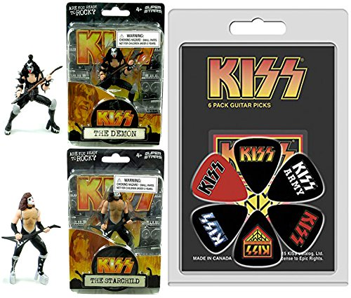 KISS Ready to Rock Action Figures & Rock & Roll Guitar Picks Kiss Army & Logo Set - The Demon & The Starchild 4.5
