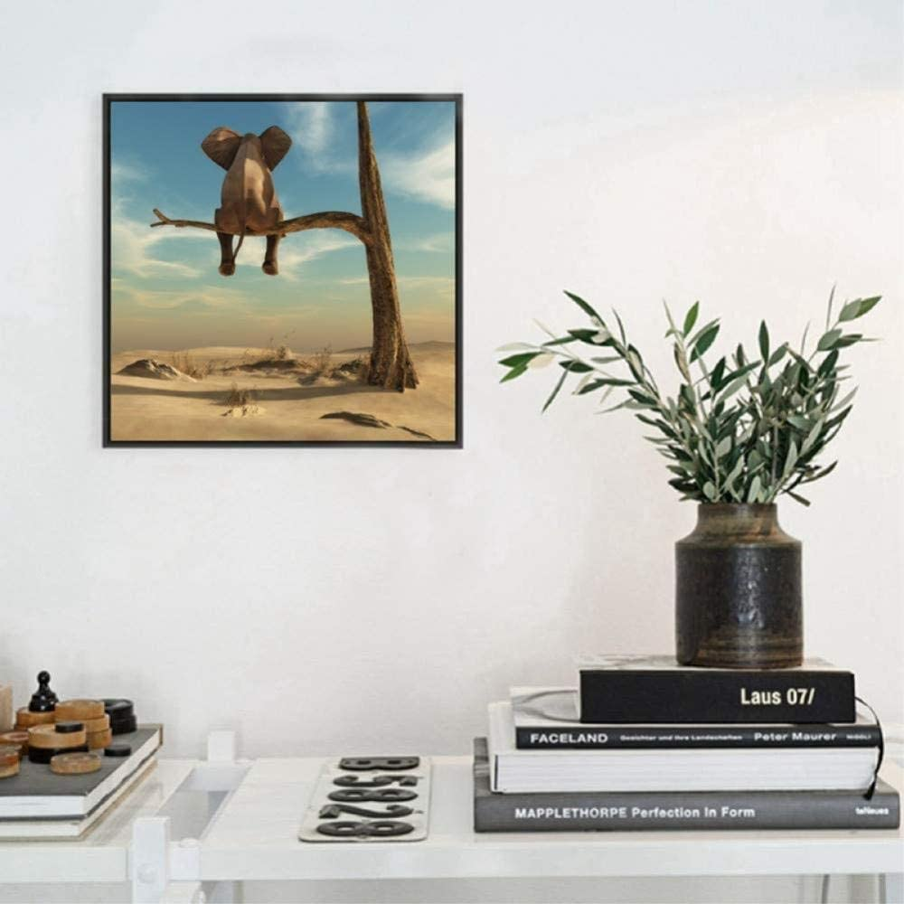 Canvas Painting Decorative Paintings Elephant Stands On Tree Branch Canvas Art Print Wall Picture Surrealism Canvas Painting Art Poster Home Decor-50x70cm
