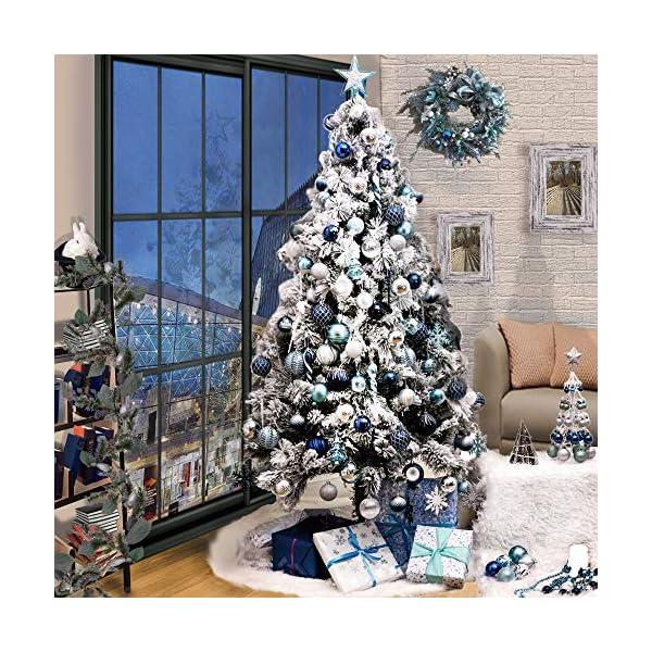 Valery Madelyn Palle di Natale 9 Pezzi 10cm Palle di Natale, Winter Wishes Argento e Blu Infrangibile Palla di Natale Ornamenti Decorazione per la Decorazione Dell'Albero di Natale 7 spesavip