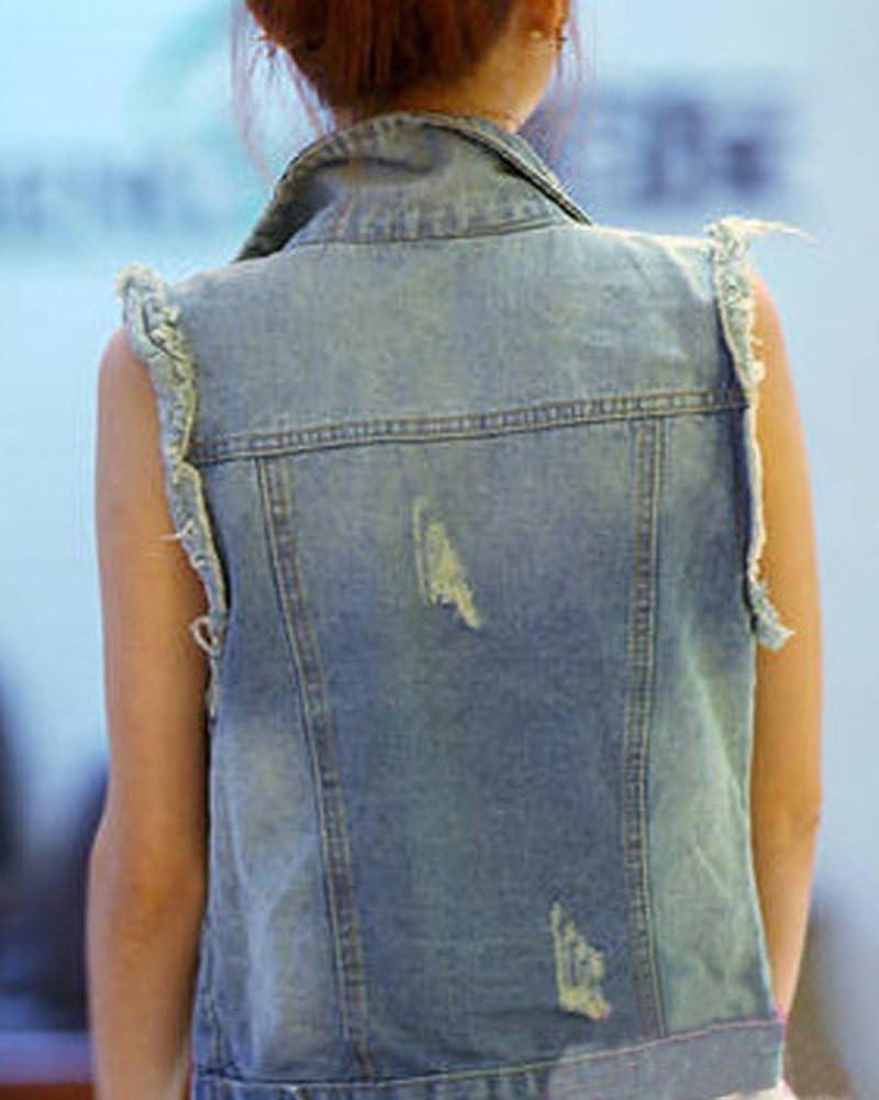 Runyue Donna Giacca Denim Senza Maniche Gilet in Jeans Slim Fit Lavaggio Colore Chiaro Strappati Giubbotto in Jeans