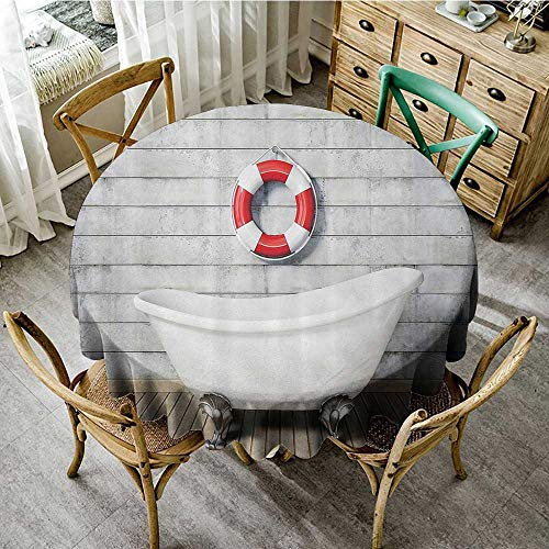 familytaste Tabletop Cloth Round Vintage Decor,Vintage Bathtub in A Room Grunge Wall Classic Floral Foot Resting Sailor Decorative,White Red Gray D 54
