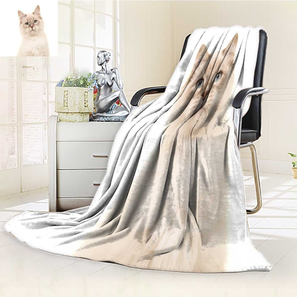 Fleece Blanket 300 GSM Anti-static Super Soft pretty rag doll baby cat kitten with blue eyes lying down isolated on a white Warm Fuzzy Bed Blanket Couch Blanket(60''x 50'')