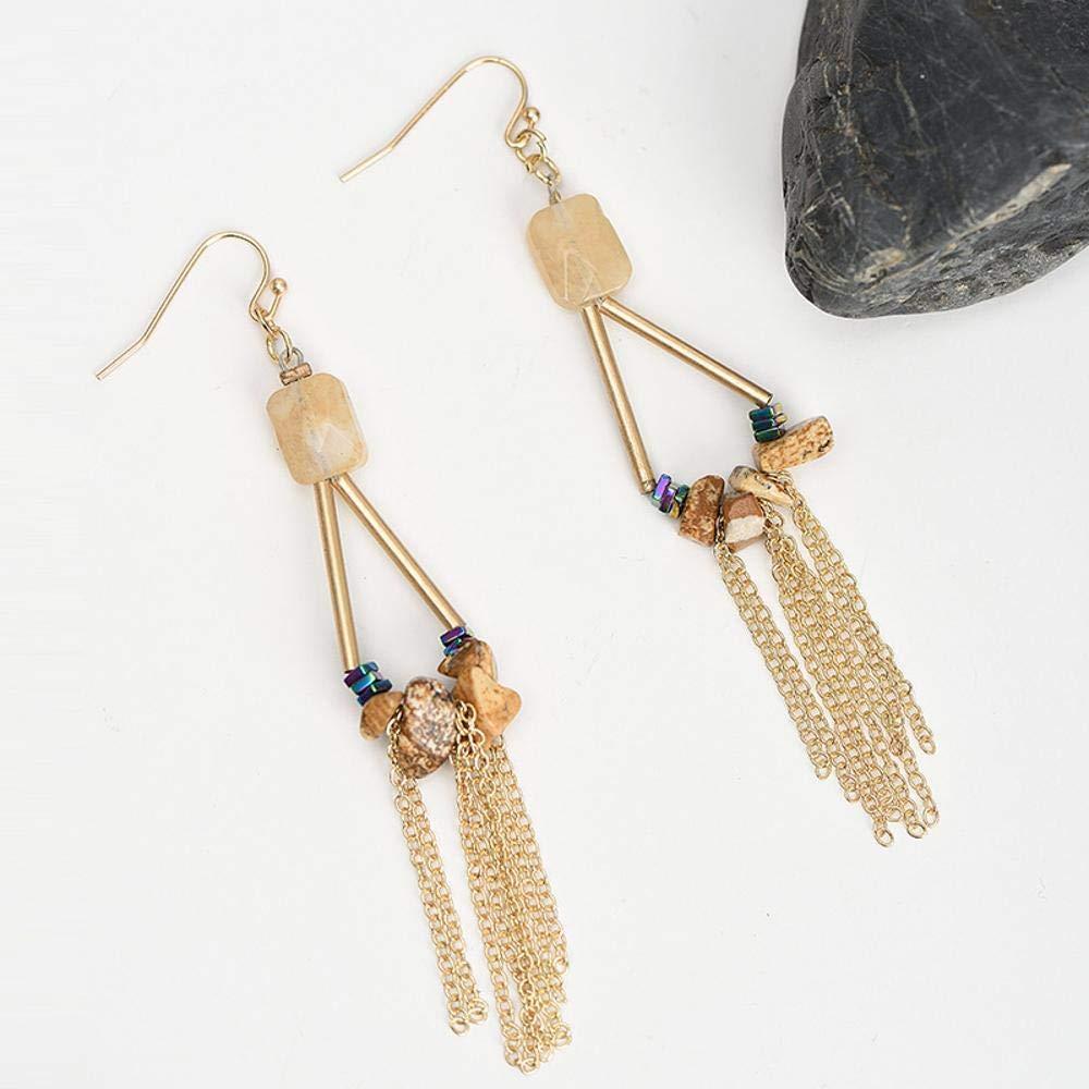 Ludage Earrings, Natural Stone Alloy Earrings 96mm Fashion Chain Pendant Fringed Retro Earrings