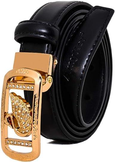 AmyKer Women Leather Belt Waist Skinny Dress Belts Fashion Gold Metal Buckle with Rhinestones Belt For Jeans Pants, Wide 2228 mm,Thin belts, Multiple