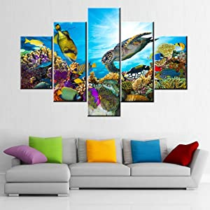 Undersea Canvas Art Wall Coral and Many Fishes Pictures Sealife Painting 5 Panel Colorful Wall Art House Decor Sea Turtle Artwork Framed Ready to Hang in Living Room Poster and Prints(60''Wx 40''H)