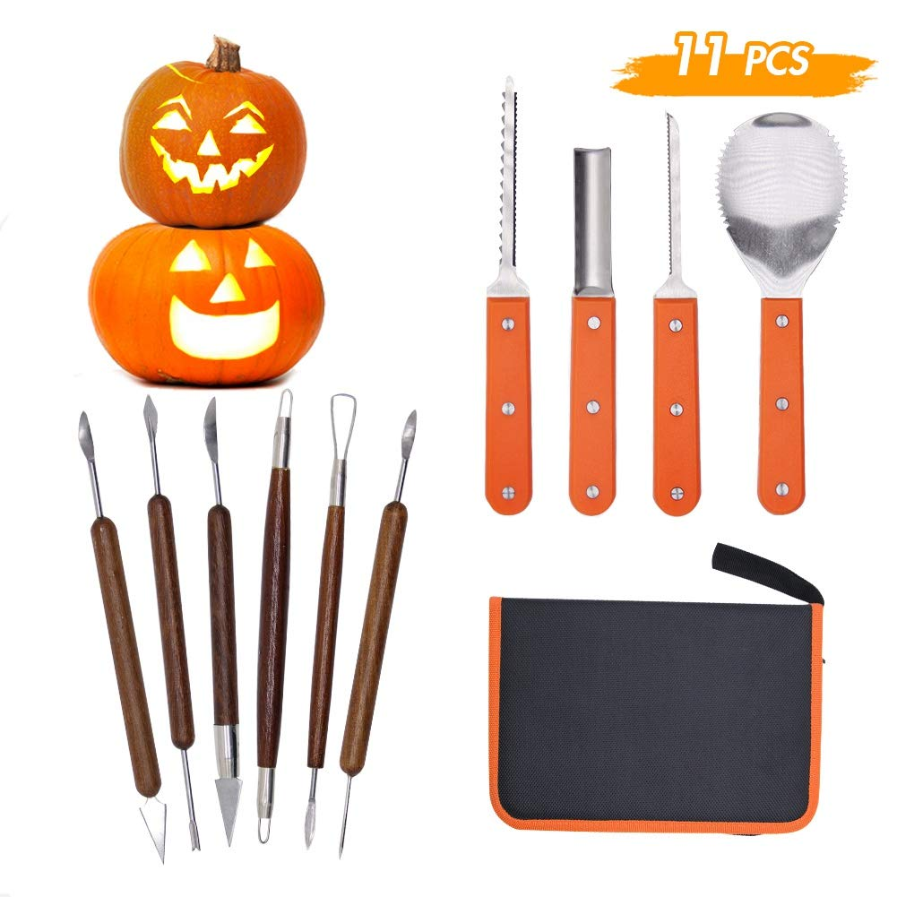 Lulu Home Halloween Pumpkin Carving Kit, 11 Pieces Professional Pumpkin Cutting Supplies for Jack-O-Lanterns with Bag by Lulu Home