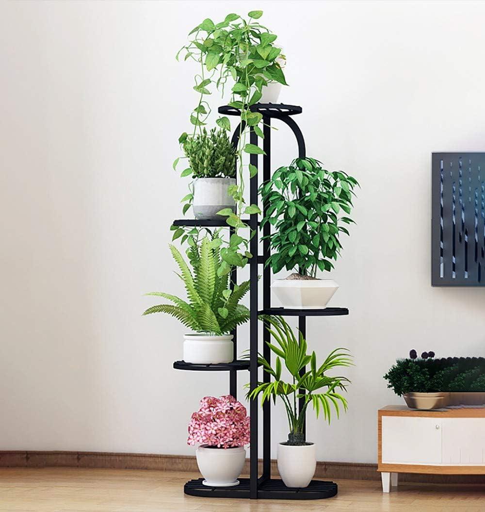 LOHOX Estantería para Macetas Metal de Hierro de 5 Gradas de Nivel Escalera Plantas Estante de Soporte de Jardín para Esquina Exterior Interior Jardín Balcón