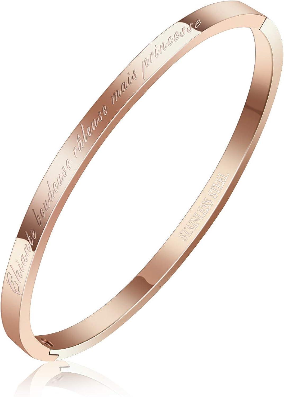 AURSTORE/® Bracelet Jonc Fin en Acier Inoxydable 316L avec Message Chiante boudeuse r/âleuse mais Princesse Largeur 4 mm Couleurs au Choix