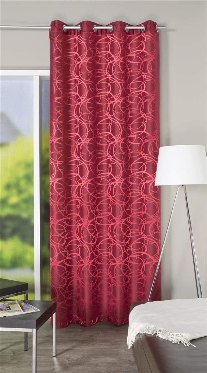 245/X 140/CM Home Fashion Tissu dameublement Horizontales Rideau /à /œillets Polyester Rouge