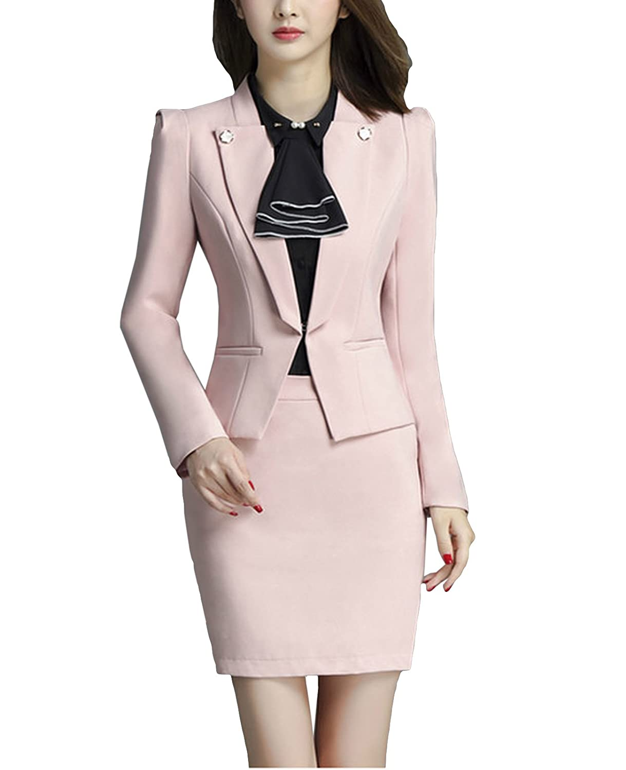 MFrannie Women 2-Piece Long Sleeve Office Lady Suit Set of Blazer & Skirt
