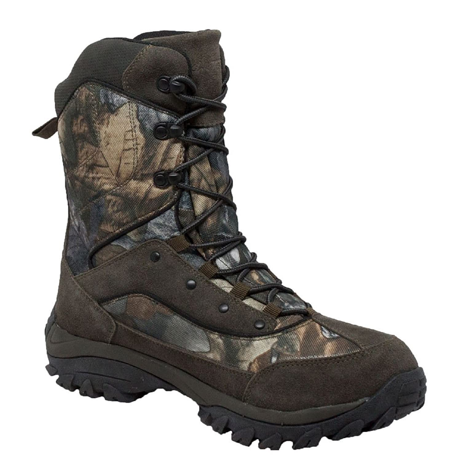 AdTec Mens Dark Green 11in Camo Insulated Suede Hunting Boots