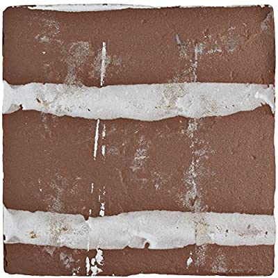 "SomerTile FPEARCKZ Modele Ceramic Floor and Wall Tile, 4.875"" x 4.875"", Green/Blue/Cream/White/Brown"