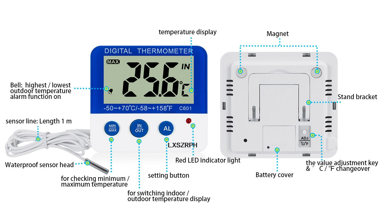 Fridge Freezer Thermometer Max Min Memory Lxszrph High Electronic Circuit Low Temperature Alarms Settings With Led Indicator Digital Refrigeration