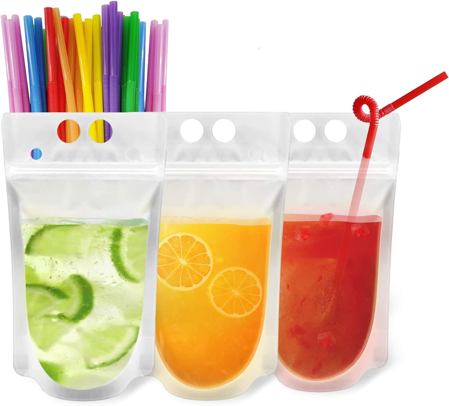 200Pcs Reusable Drink Pouches Clear Drink Bags with Disposable Plastic Straws Smoothie Bags Juice Bags Reclosable Double Zipper Handheld Translucent Stand-up Frozen Drink Pouches for Adults