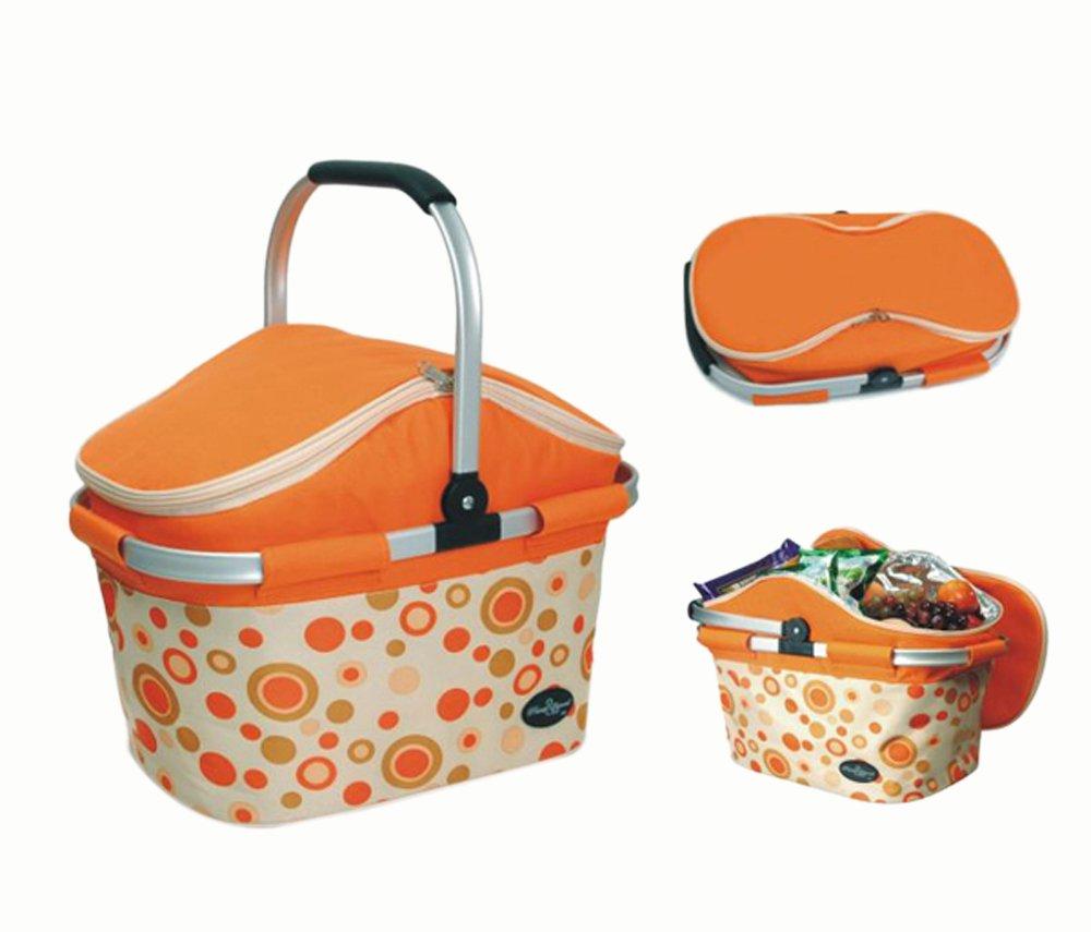 Collapsible Picnic Cooler Basket in Orange