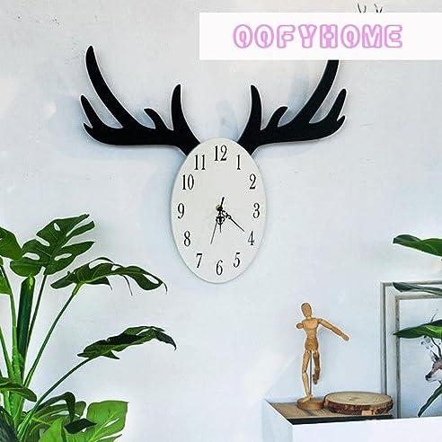 oofyhome wanduhr kreative geweih uhr retro uhr digitaluhr stille nicht tickende uhr fr wohnzimmer schlafzimmer - Tickende Uhr Schlafzimmer