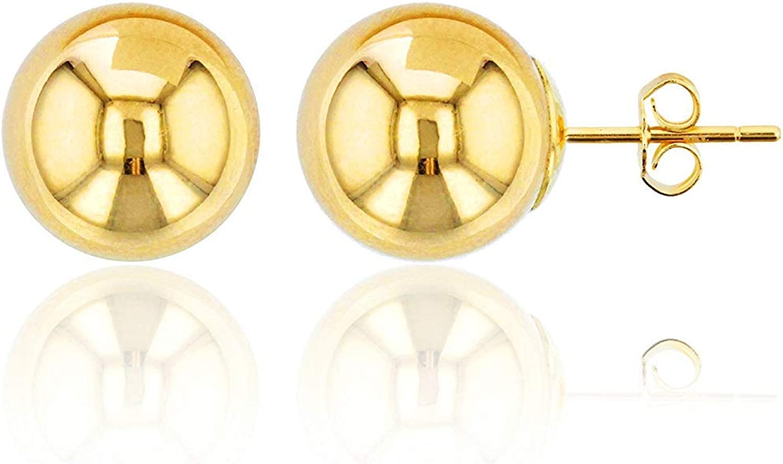 10K Yellow Gold High Polished Ball Post Stud Earring