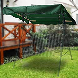 """Flexzion Swing Canopy Cover (Green) 75"""" x 52"""" - Deluxe Polyester Top Replacement UV Block Sun Shade Waterproof Decor for Outdoor Garden Patio Yard Park Porch Seat Furniture"""