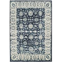 Premium Heavy-Duty Thick Traditional Area Rugs Oriental Distressed Rugs Vintage Carpet For Living Rooms on Clearance (Large 8x11, Navy)