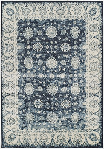 Cheap Premium Heavy-Duty Thick Traditional Area Rugs Oriental Distressed Rugs Vintage Carpet For Living Rooms on Clearance (Large 8'x11′, Navy)