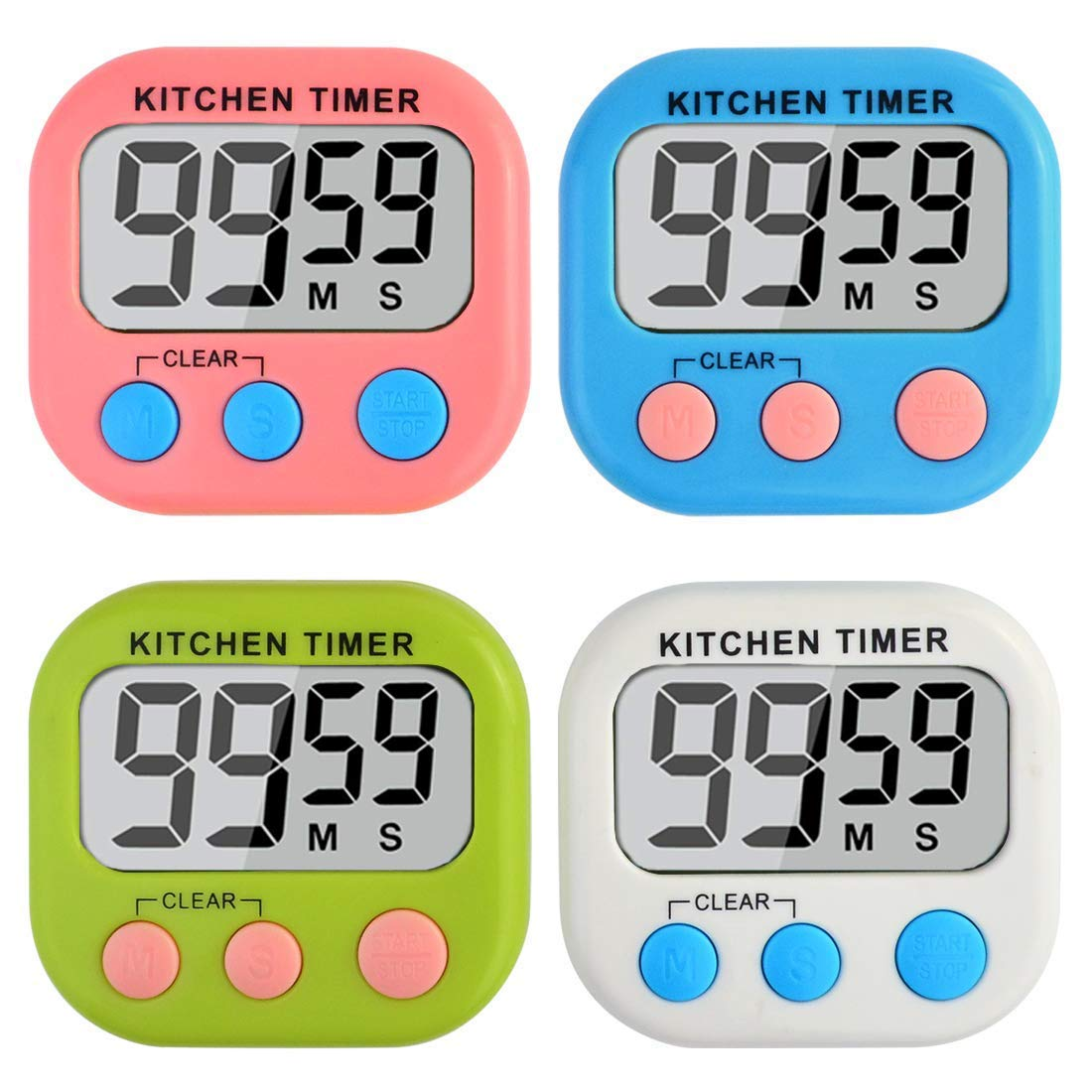 Yolyoo 4 Pack Digital Kitchen Timer,Magnetic Backing and Stand with Large LCD Display for Cooking Baking